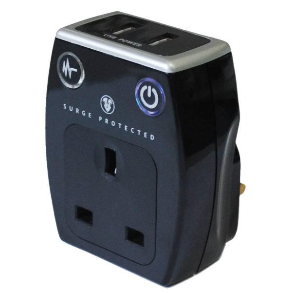 Masterplug Black Gloss 13A Surge adaptor